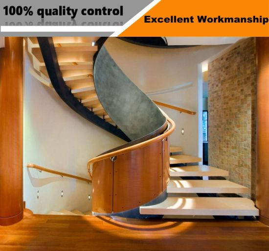 Luxury Floating Stairs Indoor Decorative Used Stainless Steel Glass Spiral  Staircase