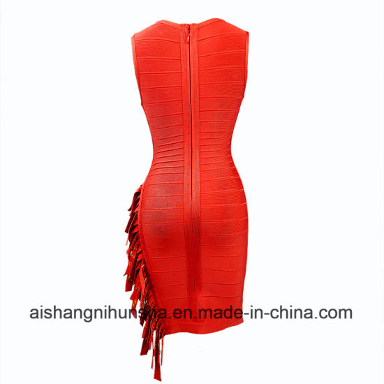 V Neck Tassel Sleeveless Bandage Dress Celebrity Party Dress pictures & photos