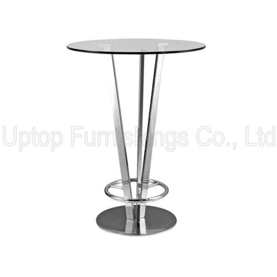 China Modern Night Club Glass Top Pied De Table Bistro Sp Bt642