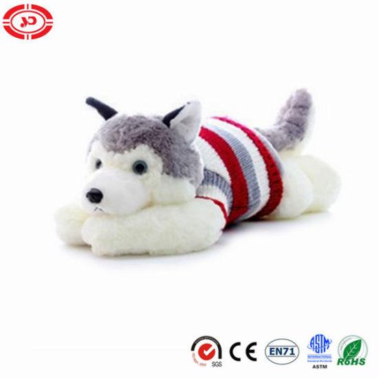 Husky Lying Fluffy Soft Plush Stuffed Wear Sweater Dog Toy