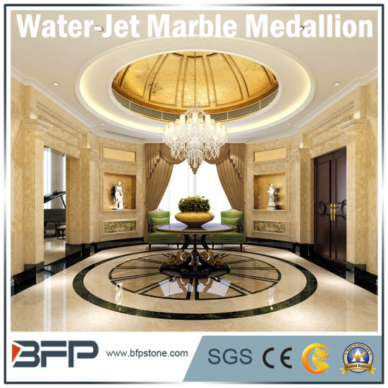 Natural Stone Beige Marble Slab/Tile/Step/Linear/Mosaic/Medallion by Water-Jet pictures & photos