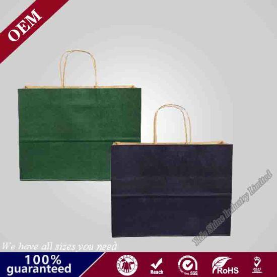 Eco-Friendly Natural Brown Handbag Kraft Paper Bag with Twisted Handles