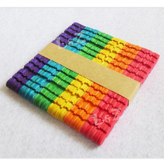 China 114x10x2mm Colorful Dentiform Wooden Lollipop Popsicle Sticks