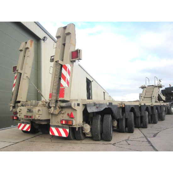 Three Axles Long Equipment Transport Extendable Trailer pictures & photos