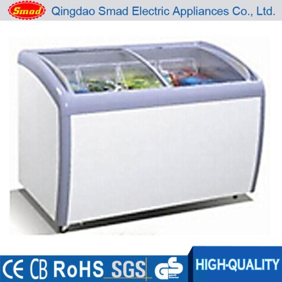 China Curved Glass Door Chest Freezer Ice Cream Chest Freezer