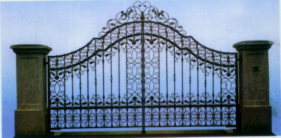 America Style Metal Front Wrought Iron Aoto Swing Entry Gates pictures & photos