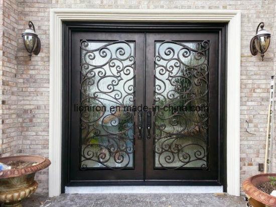 China Wholesale Security Steel Front Door Beautiful Double Iron Door ...