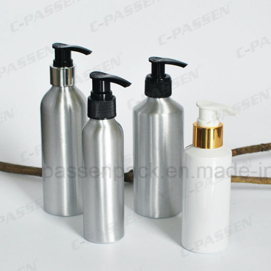 Aluminum Cosmetic Lotion Bottle With Dispenser Pump Ppc Acb 038