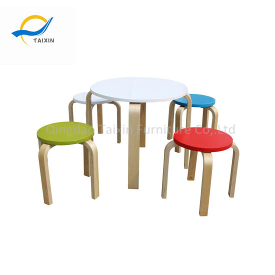 China Round Shape Kids Wooden Dining Table Set - China Furniture ...