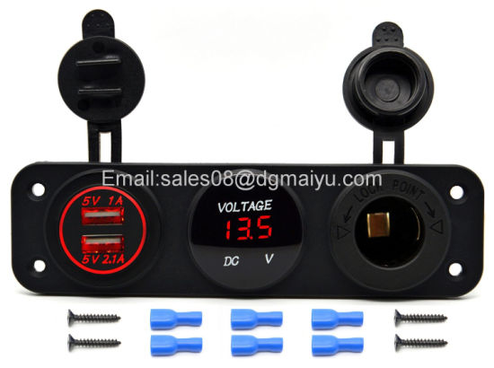 Car USB Charger + LED Voltmeter + Outlet Power Socket pictures & photos