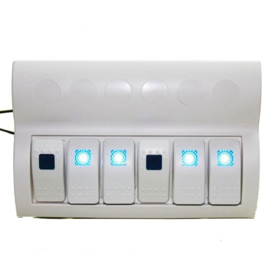 6 GANG WHITE LED TOGGLE SWITCH PANEL with Fuses Waterproof//Marine//Caravan//Boat