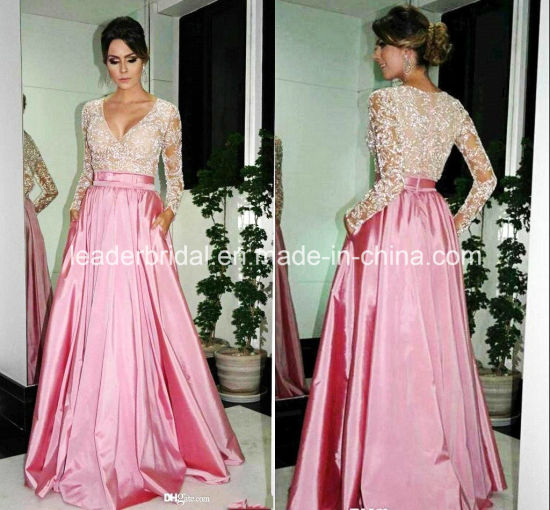 China Pink Formal Gowns Lace Top Celebrity Evening Dresses Z622