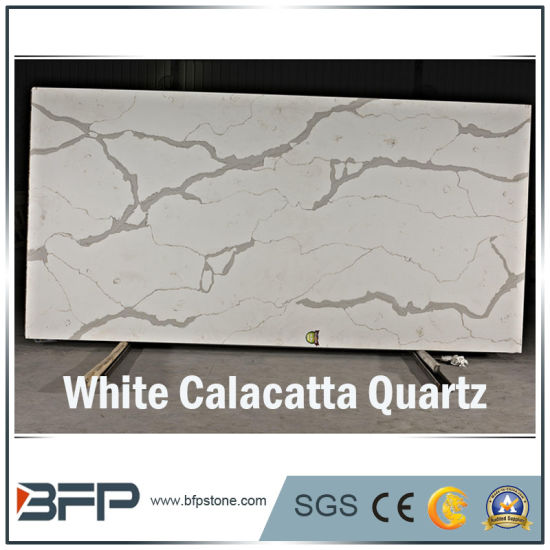Elegant White Calacatta Quartzs for Slabs/Tiles/Countertops Interior Design pictures & photos