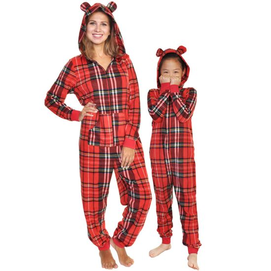 Clothing Supplier Plaid Kids Women's Sleepwear One Piece Hooded Pajamas