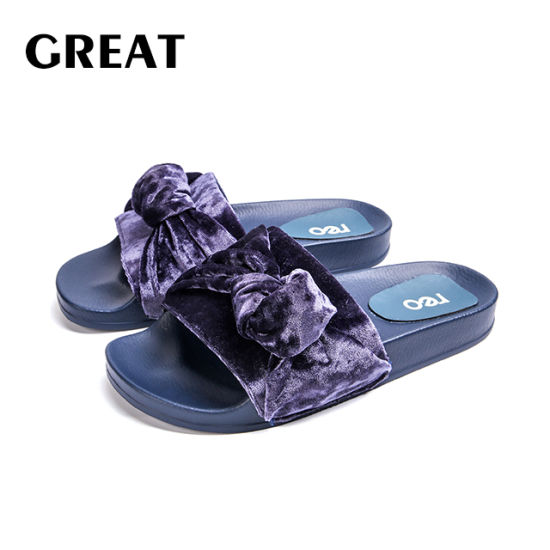 Greatshoe High Quantity PU Ladies Slipper Woman Flat Slides Sandals Shoes Outdoor Slide Footwear with Logo Customized Service