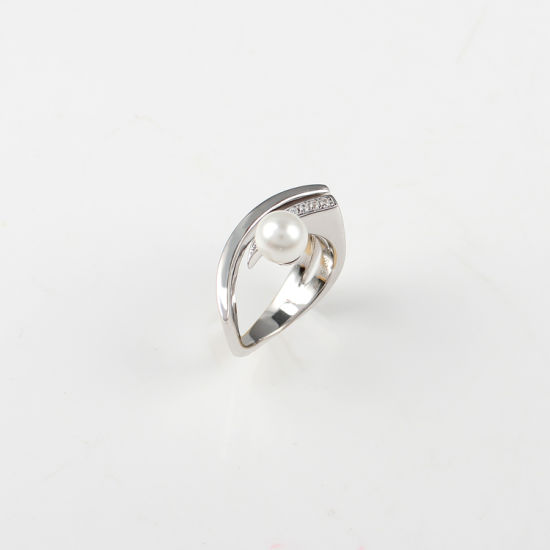 Honorable Simple Single Grain Pearl Women 925 Silver Jewelry Broad Ring pictures & photos