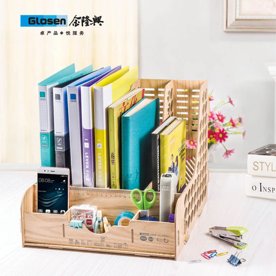 Diy Wooden 4 Columns File Tray D9121