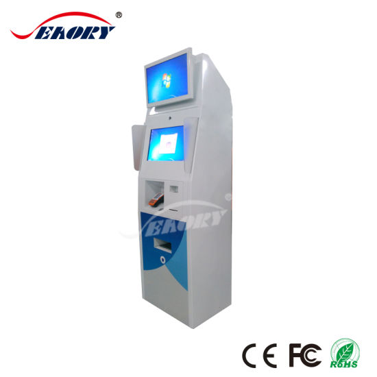 Most Popular Dual Screen Kiosk for Ticket Dispenser with Card Reader pictures & photos