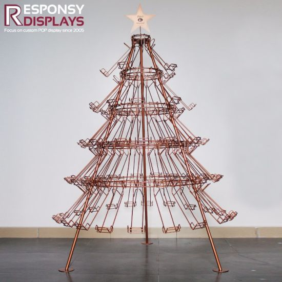 Attractive Design Golden Christmas Tree Beer Display Metal Wire Floor Wine Rack