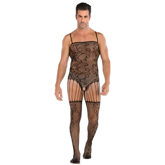 2020 Men Sexy Jacquard Open File Appeal Even Body Net Clothing Sexy Bodysuit