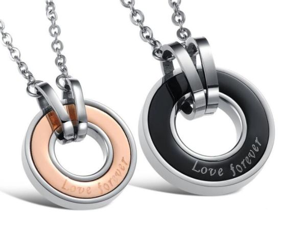 China fashion couple jewelry wholesale stainless steel rose gold fashion couple jewelry wholesale stainless steel rose gold black circle pendants necklaces for women men birthday gifts mozeypictures Images