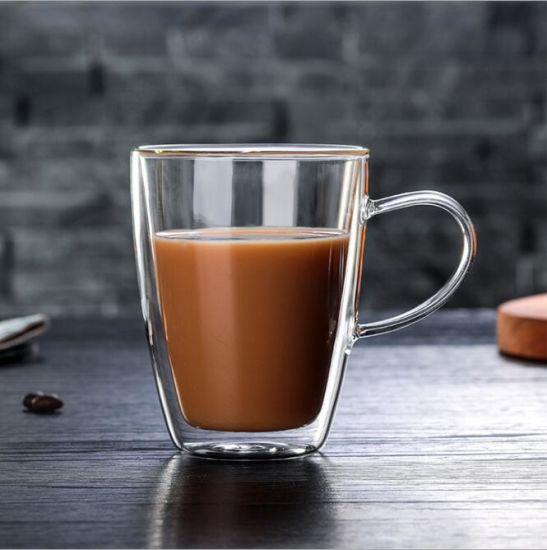 Crystal Double Wall Glass Cup/Coffee Glass Mug Borosolicate Handblown