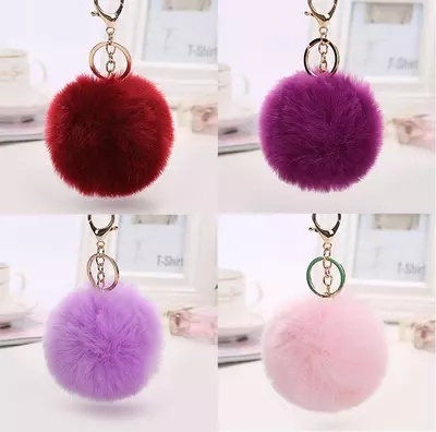 Real Fur Fluffy Rex Rabbit Hair Pompom Ball Key Chain Poms pictures & photos