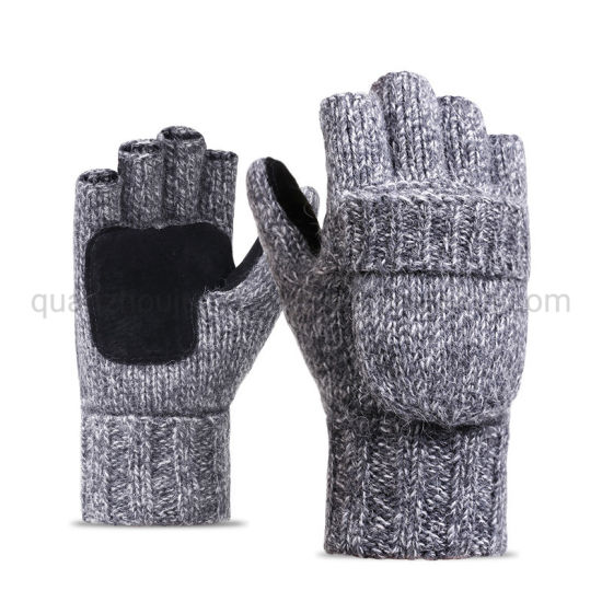 OEM Half Finger Renovate Multi-Color Woolen Knitted Brushed Riding Men Women Gloves