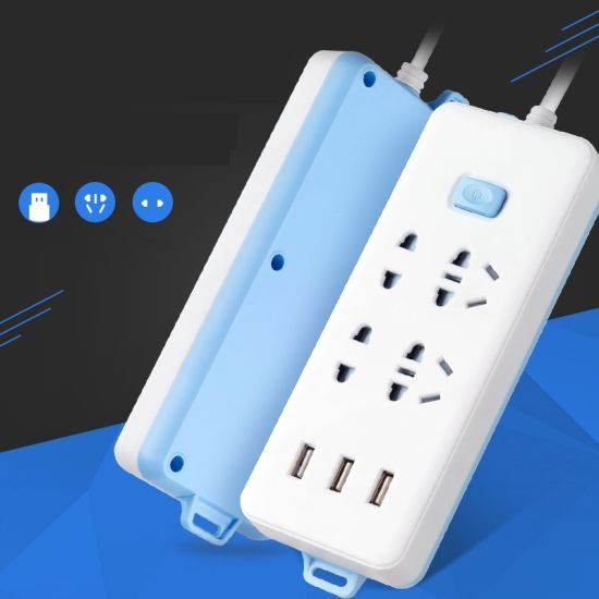 Power Strip 3-Outlet Surge Protector with 4-USB Charging Smart Power Socket with 6.5FT Extension Cord