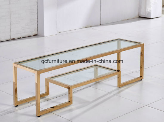 Superbe Golden Stainless Steel TV Stand Free Standing With Two Layers