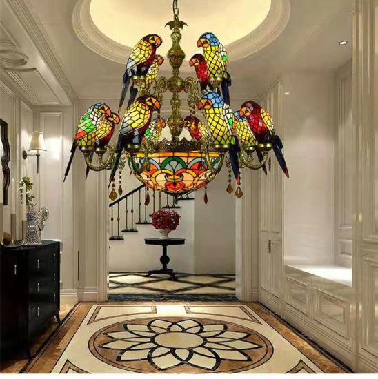 Tiffany Stained Glass Pendant Chandeliers Parrot Bird Ceiling Lamp Lights for Vintage Style pictures & photos