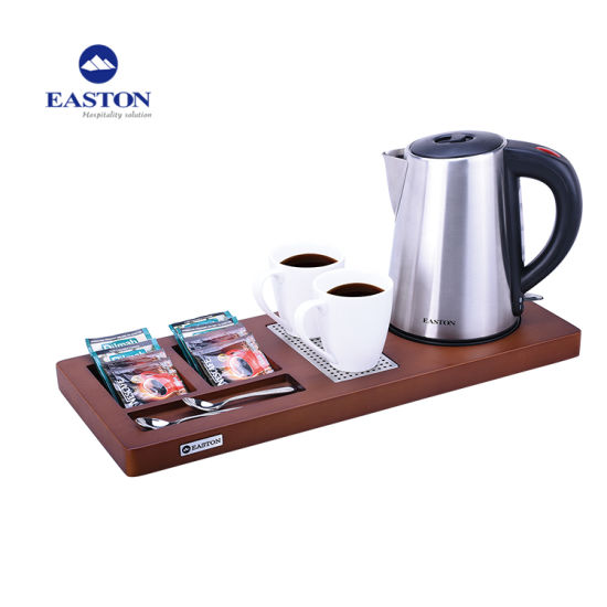 Hotel Room Stainless Steel Kettle with Wooden Amenity Tray