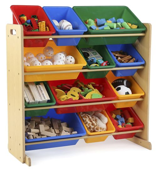 Toy Box Playroom Furniture With 12 Plastic Bins Multiple Colour