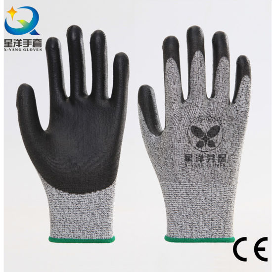 Anti Cut Hppe Cut Resistance Level D or 5 Liner with PU Coated Safety Work Gloves with CE Certificated