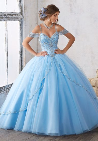 China off Shoulder Blue Pink Wedding Dress Crystals Quinceanera ...