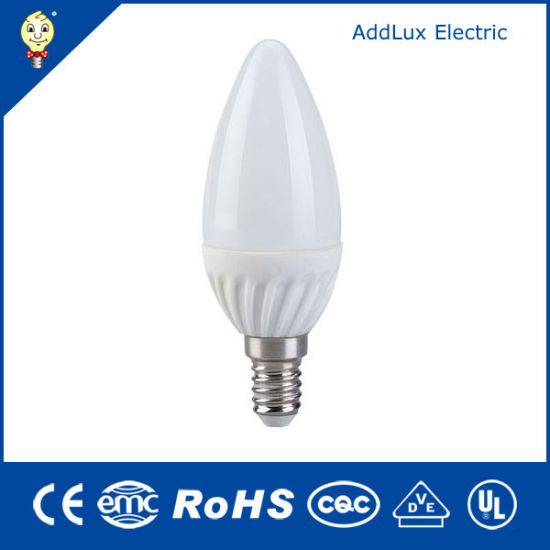 Best Supplier Factory Wholesales Ce UL Saso RoHS Decorative 220V SMD 3W E14 LED Candle Lamp Made in China for Home & Business Indoor Lighting