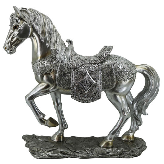 Customized Home Decor Electroplated Silver Color Resin Horse Statue