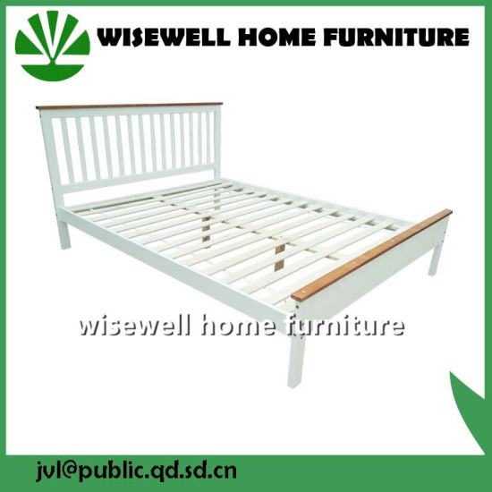 Pine Wood Latest Bi-Color Double Bed Designs (W-B-4031) pictures & photos