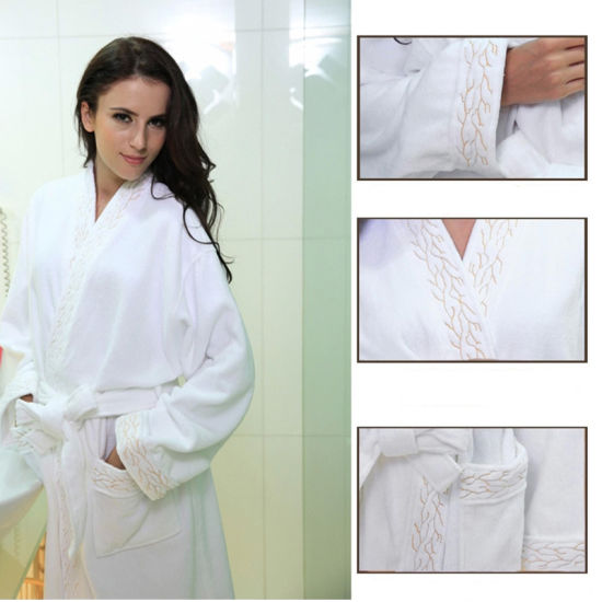 100% Cotton Material Bath Robe (BA-002) Waffle Cut Pile Bath Robe pictures & photos