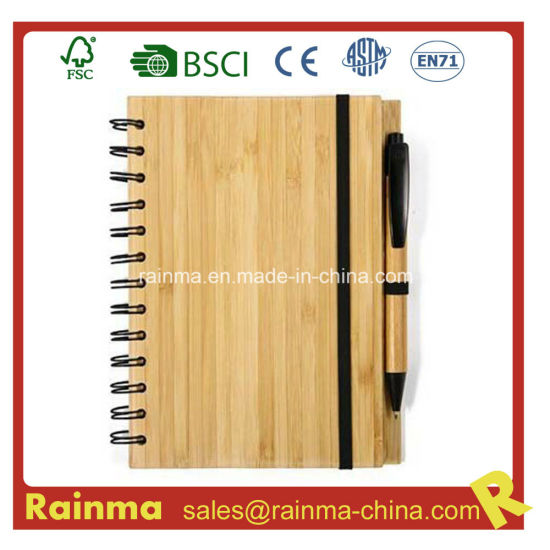 A5 Spiral Bamboo Wood Cover Ball Point Pen Spiral Notebook with Ruler