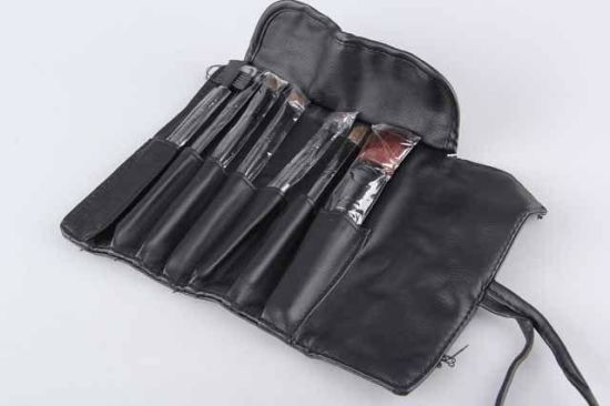 7PC Wool Wooden Handle Cosmetic Brush Set with Tie Cord Trifold Pouch