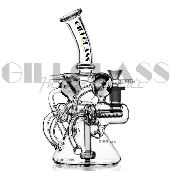 Gilglass 10.5 Inches Double Inline Recycler Slitted Donut Perc Pipe DAB Rig Water Pipes Bowl Oil Rigs
