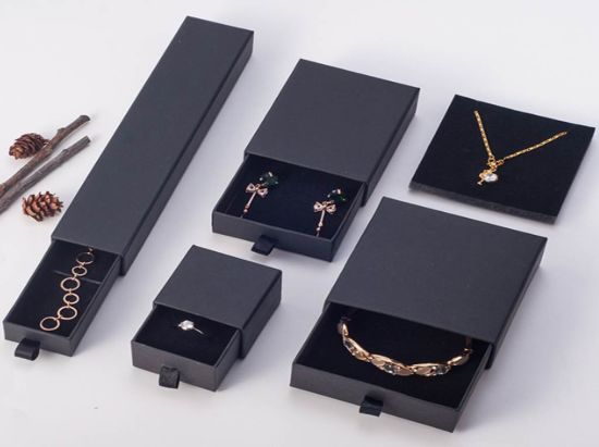 Black Small Big Paper Drawer Box Sliding Drawer Box Jewelry Jewellery Bracelet Rings Gift Boxes Jewelry Box