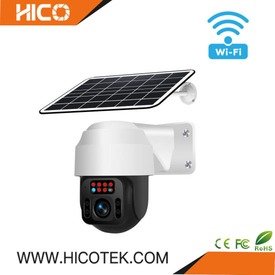 1080P Digital Wireless Outdoor Ai IP Security Surveillance Garden Farm 360 Degree Video IP WiFi PTZ Dome Solar Panel Camera