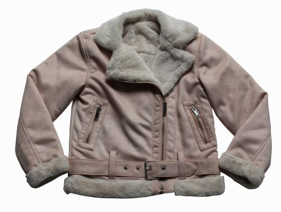 Faux Fur Laies Winter Suede Leather Waterproof Jacket for Girl