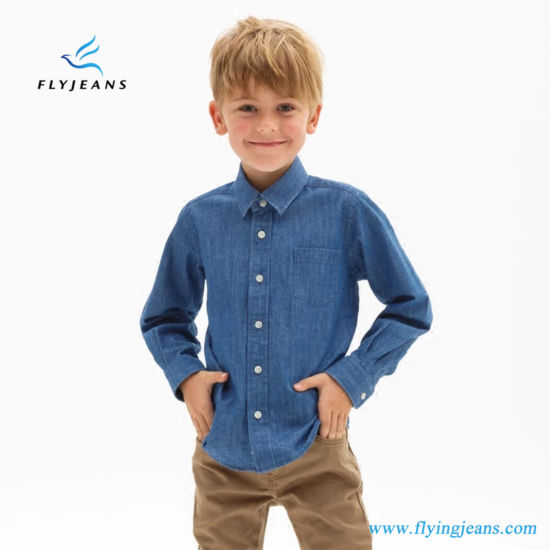 fdbf56c6d40 China Popular Hot Sale Slim Blue Boys′ Long Sleeve Denim Shirt by ...