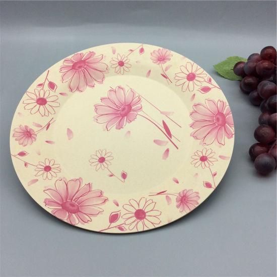 Customized Decal Beautiful Paniting Household Dinnerware Bamboo Fiber Charger Plate & China Customized Decal Beautiful Paniting Household Dinnerware ...