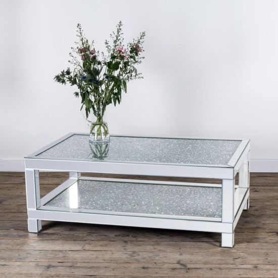 New Diamond Crush Mirror Rectangular Coffee Table
