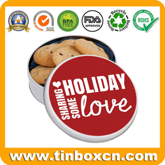 China Customized Round Metal Cookies Tin For Christmas Holiday