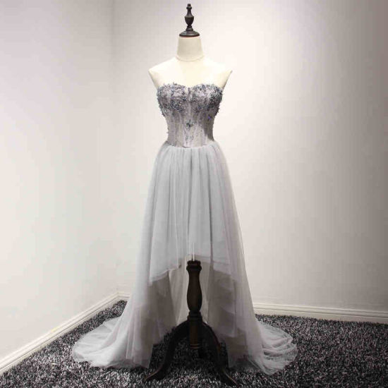 Sweetheart Beading Hi-Low Gray Prom Dress Cocktail Gown